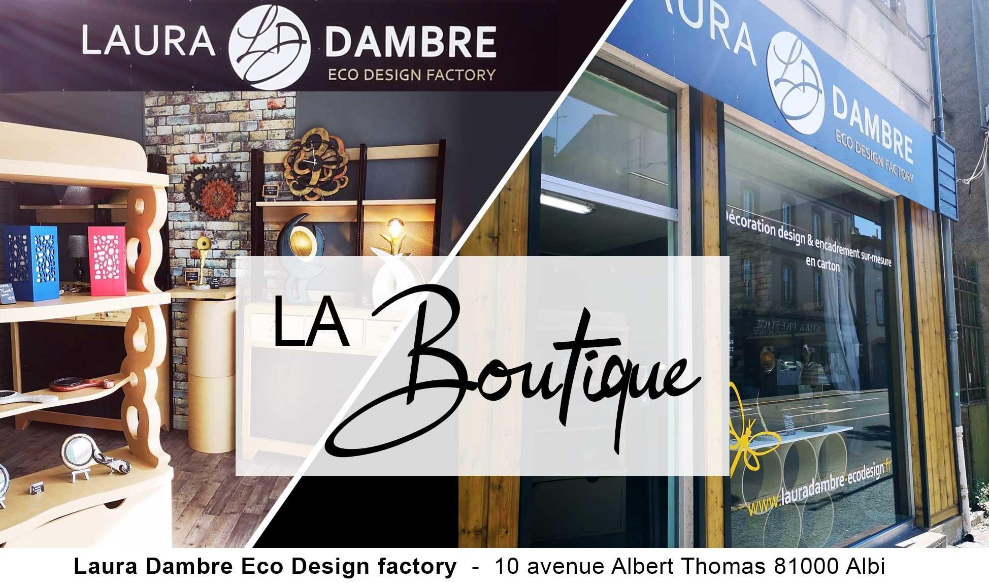 Magasin de décoration design et encadrement sur-mesure en carton - Laura Dambre Eco Design Factory